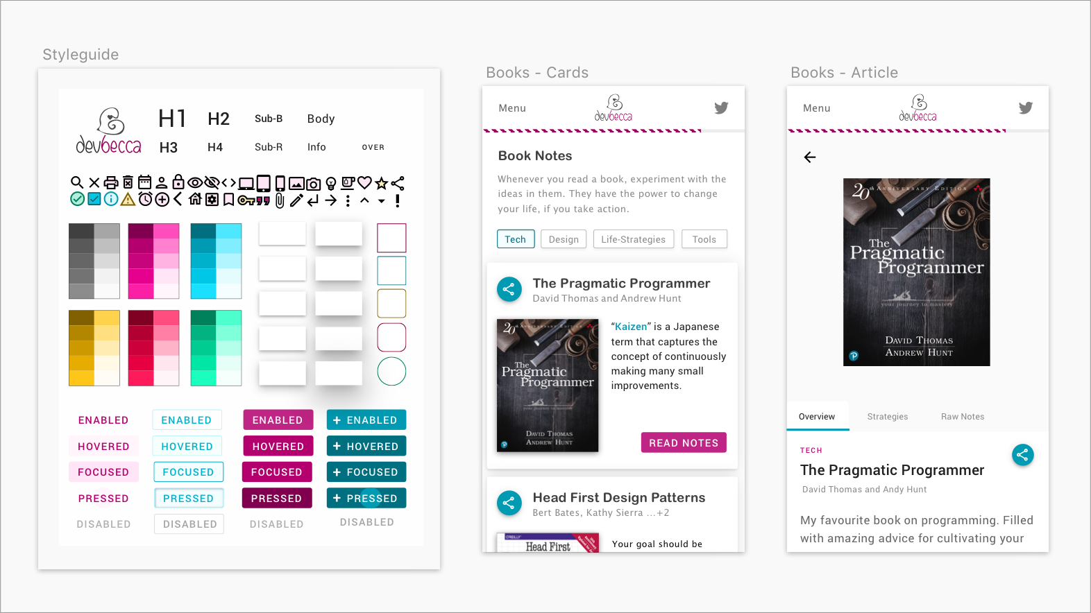 small design system and mobile screens for displaying book notes