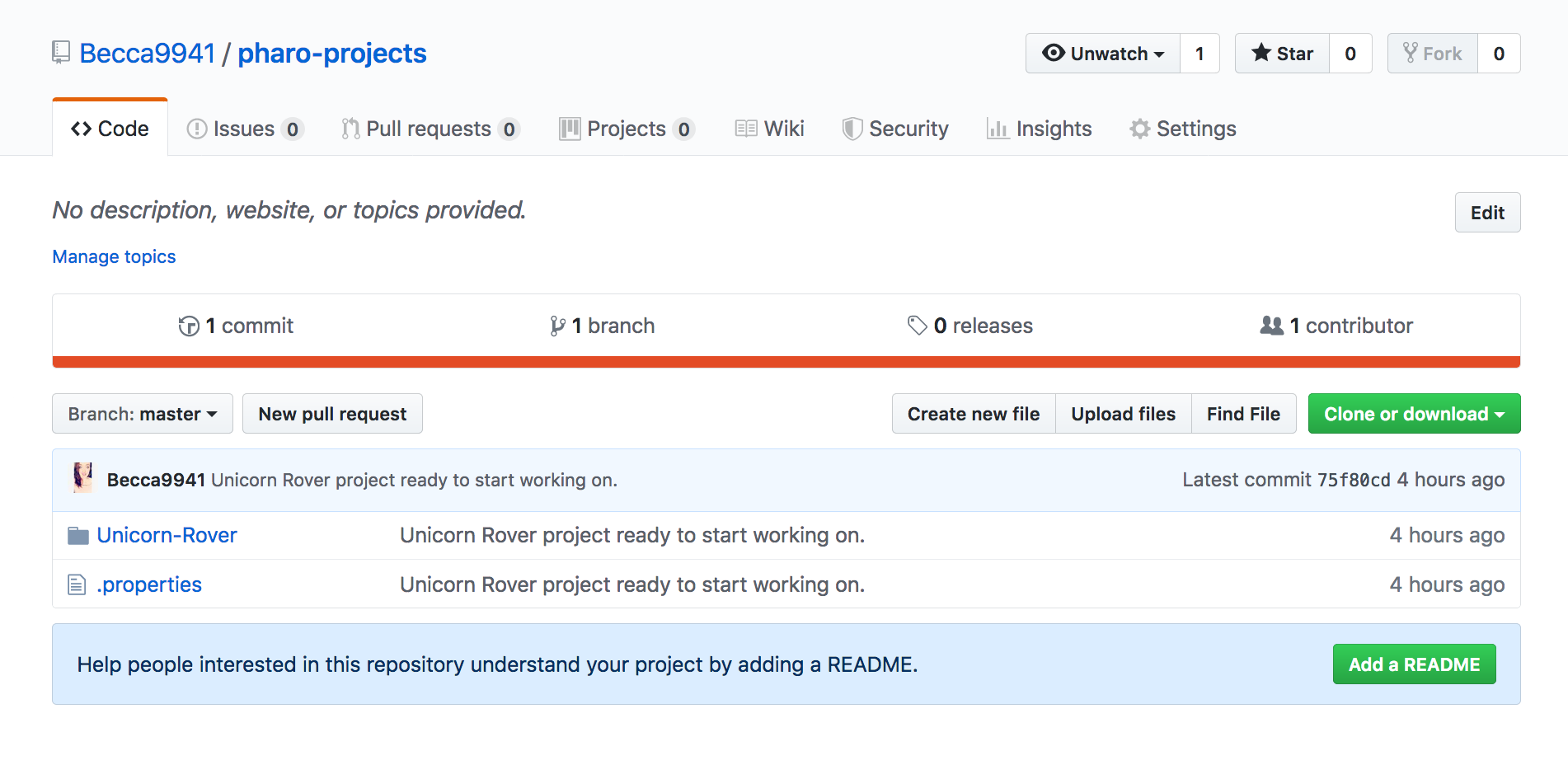 Github repo after first push from pharo