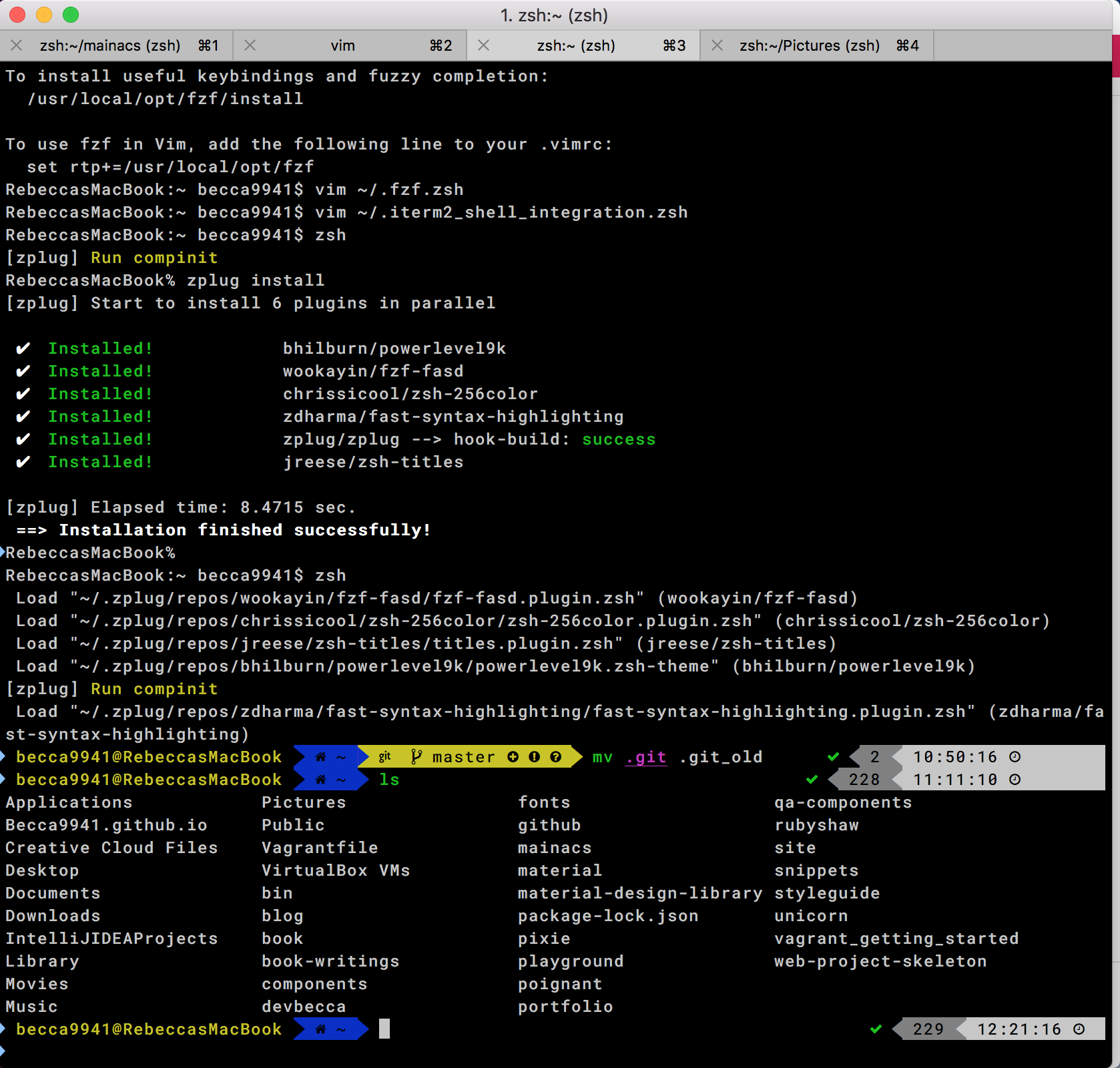 screenshot of what zsh terminal with settings from this post looks like